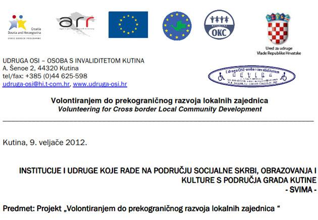 """Udruga OSI: Poziv na sutrašnje predstavljanje projekta """"Volontiranjem do prekograničnog razvoja lokalnih zajednica"""""""